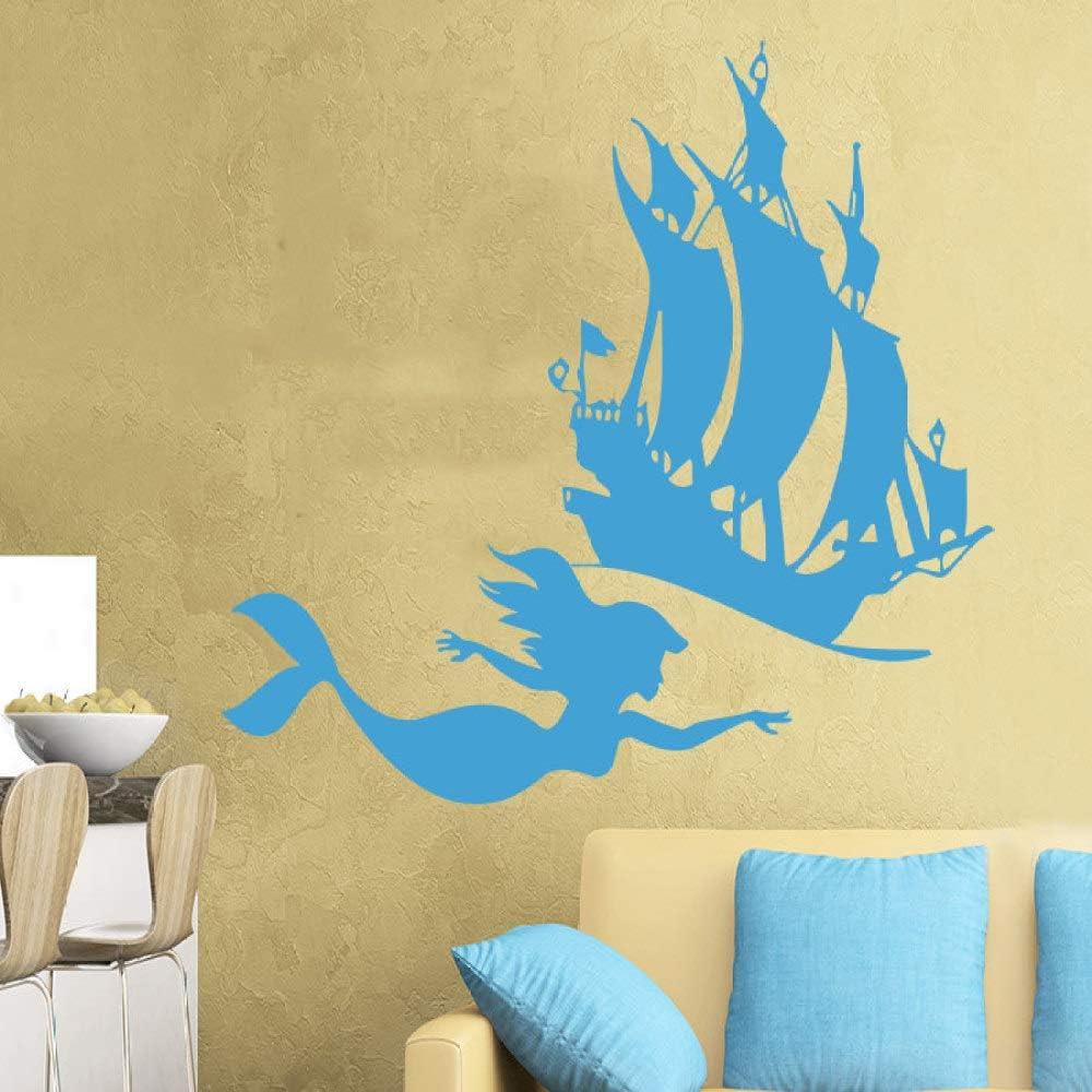 YuanMinglu Silueta de pez Nadando en el mar con Gran Barco ...