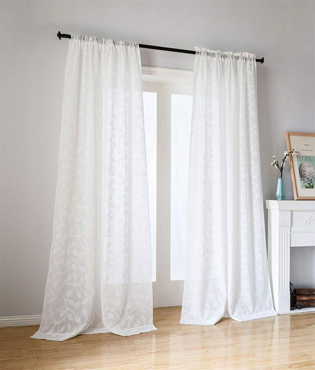 Taisier Home Cut Flower Design White Sheer Curtains,84 Long For Bedroom Curtains 2 Panel,Rod Pocket Semi Sheer Used For Sliding Glass Doorm,Elegant Sheers For Living Room(String Rod,52''×84'')
