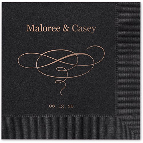 Elegant Swirl Personalized Luncheon Dinner Napkins - Canopy Street - 100 Custom Printed Black Paper Napkins (Personalized Products)
