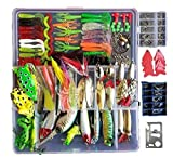 Bluenet 275pcs Fishing Lure Set Including Frog Lures Soft Fishing Lure Hard Metal Lure VIB Rattle Crank Popper Minnow Pencil Metal Jig Hook for Trout Bass Salmon with Free Tackle Box Neoprene Bag