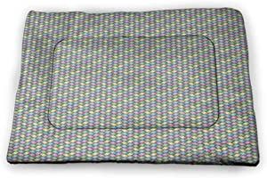Muyindo Abstract Pet Sleeping Mat Wavy Stripes Blue Tones Retro Design Inspirations Ornamental Lines Pattern Rectangle Mat for Dogs and Cats Turquoise White