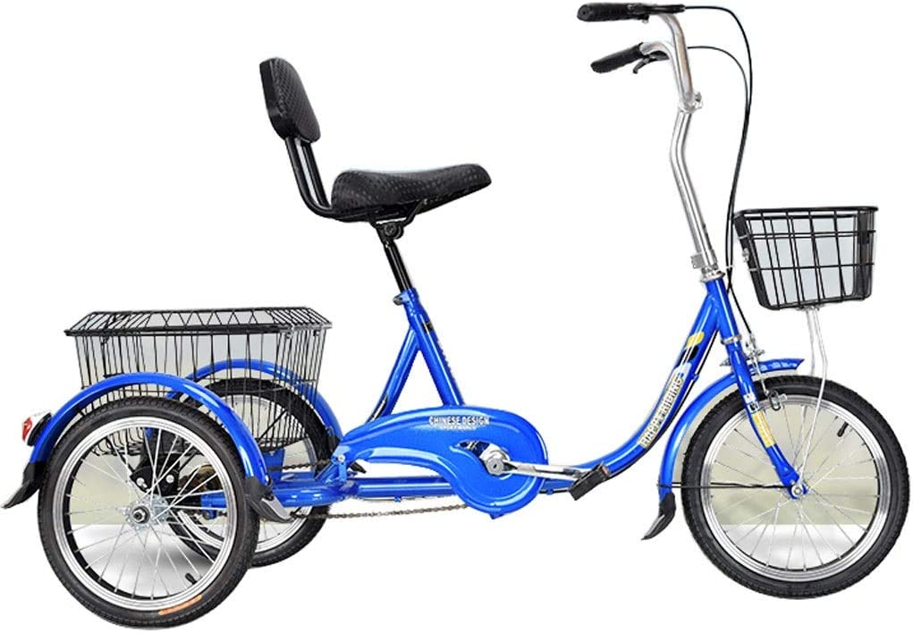 SN 16 Pulgadas Triciclos para Adultos 3 Ruedas Pedal Bicicleta para Personas Mayores Hombres Mujeres Compras Ejercicio con Cesta Grande Y Asiento Respaldo Ciudad Calle (Color : Blue, Size : 16inch)