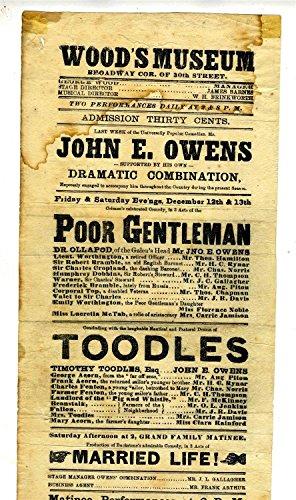 Wood's Museum Program Flyer 1868 Broadway & 30th St New York City John E Owens from Generic