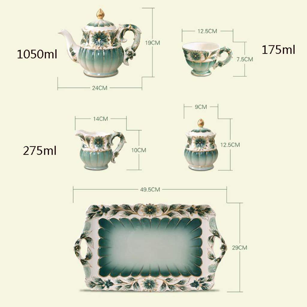 CSQ Coffee Cup Afternoon Tea Set, Ceramic Coffee Pot Household Eight-Piece Tea Set Scented Tea Teapot Capacity: 1050ml Afternoon Tea (Color : Green) by Tea set-CSQ (Image #2)