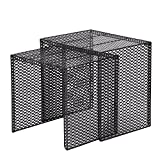 Adeco Luxury Modern Designed Black Metal Nesting End Coffee Side Table, Set of 2