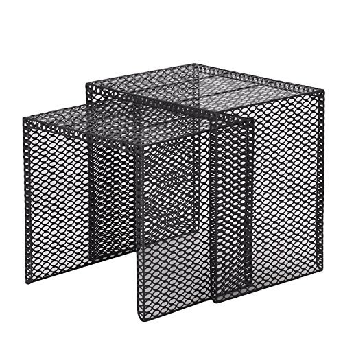 Adeco Luxury Modern Designed Black Metal Nesting End Coffee Side Table, Set of 2 (Black Snack Table Set)