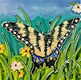 Continental Art Center SD-044 4 by 4-Inch Butterfly Set Ceramic Art Tile