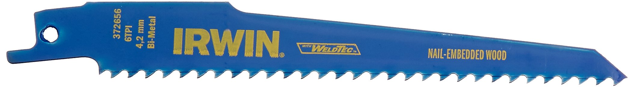 IRWIN Reciprocating Saw Blades, Wood with Nails, 6-Inch, 6 TPI, 25-Pack (372656B) by IRWIN