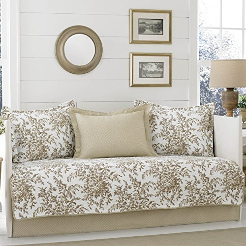 Daybed Bedford - Laura Ashley Bedford 5-Piece Daybed Cover Set, Mocha,
