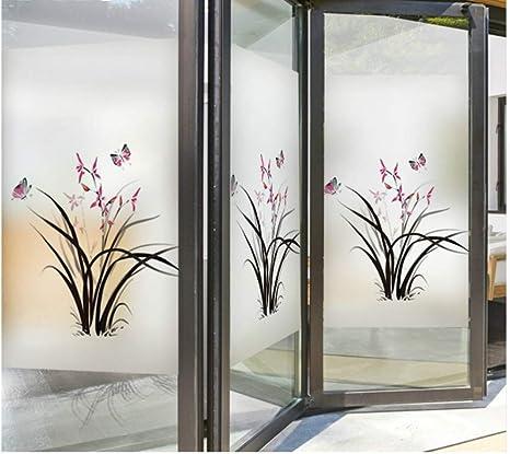 Orquídea Mariposa Marca De Arte Película De Cristal Etiqueta De La Ventana Transparente Opaco Vidrieras Pegatinas Decoración Para El Hogar: Amazon.es: Bricolaje y herramientas