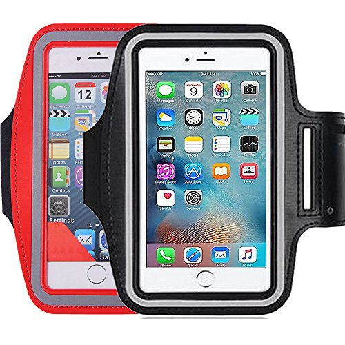 2Pack Running & Exercise Armband for iPhone 8,8plus 7 plus 6plus,6S,6,5S 5C,Samsung Galaxy s8,s8plus,s7,s6,Note 4 5, Nexus 5, Sony Xperia Z4 Z5, Other all Cell phone less than 5.6 Inches phone device]()
