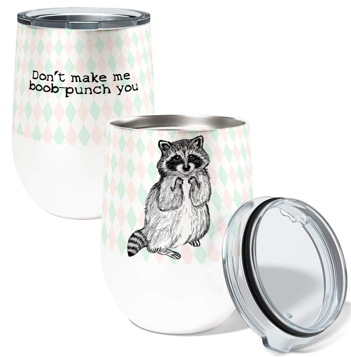 Racoon Punch Single 12 Ounce Stemless Insulated Stainless Steel Wine or Coffee Tumbler with Clear Lid by Pithitude