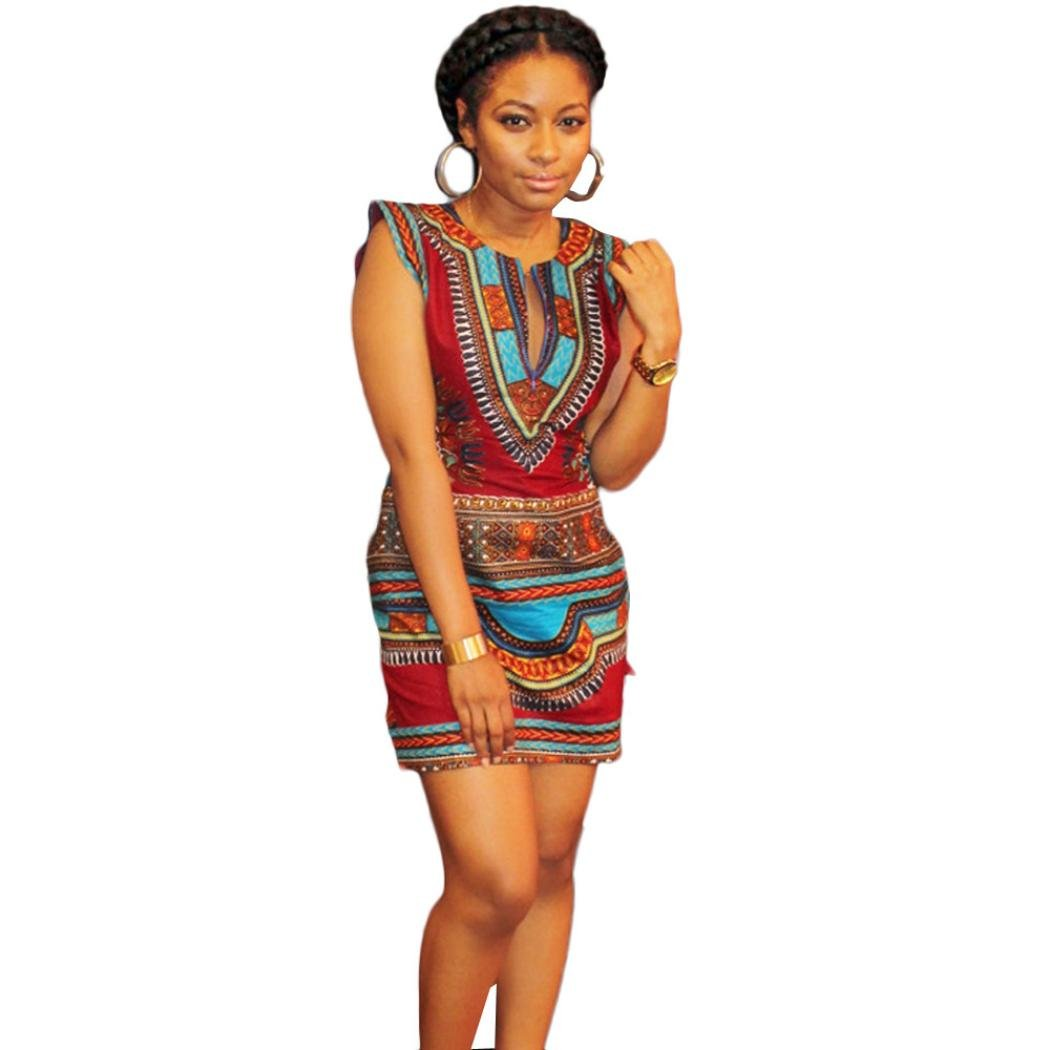 e056bc868c9 Amazon.com  Women Girls Fashion Tops Goodlock Lady Female New Summer Casual  Sleeveless Traditional African Print Party Dress  Clothing