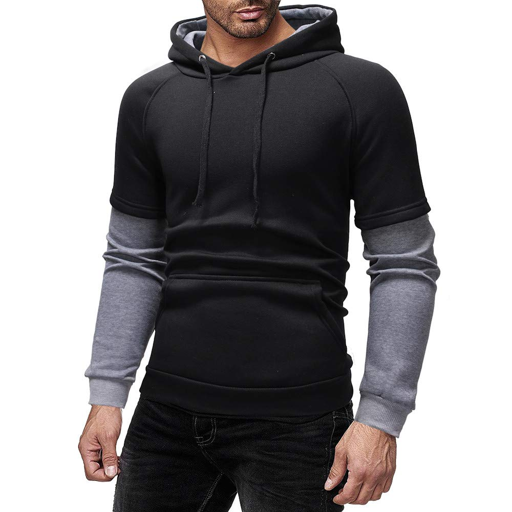 eb1d3d5f Hunzed Men【Long Sleeve Zipper Hoodie Sport Sweatshirt 】 Mens Fashion Casual  Printed Solid Color Slim Sports Sweater Clothing