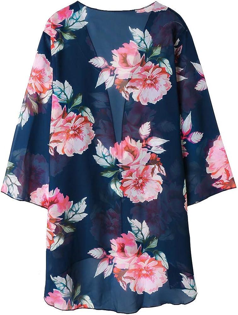 Zexxxy Women Floral Print Kimono Robe Sheer Chiffon Cardigan Half Sleeve Cover Up