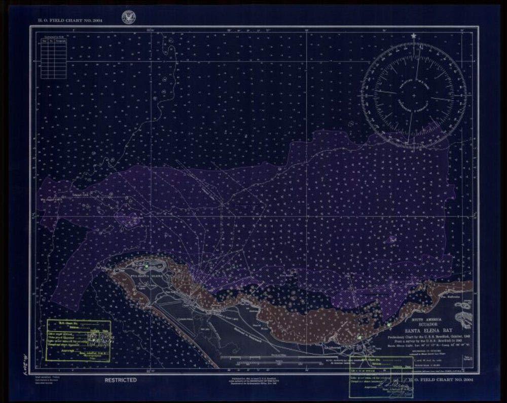 Vintography NOAA Blueprint Style 18 x 24 Nautical Chart South America Ecuador Santa Elena Bay US Navy 77a
