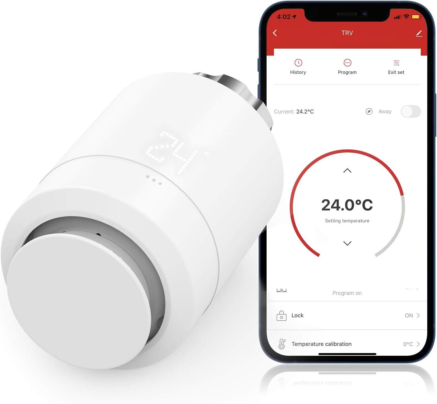 Válvula Termostática WiFi para Radiador, Maxcio Termostato de Calefacción Programable, Patalla LCD, M30*1,5, Función de Bloqueo para niños, Compatible con Alexa/Google Home