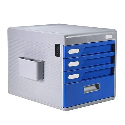 Armario Archivador Tipo Oficina 4 Capas Escritorio Contraseña Bloqueo Azul YHH