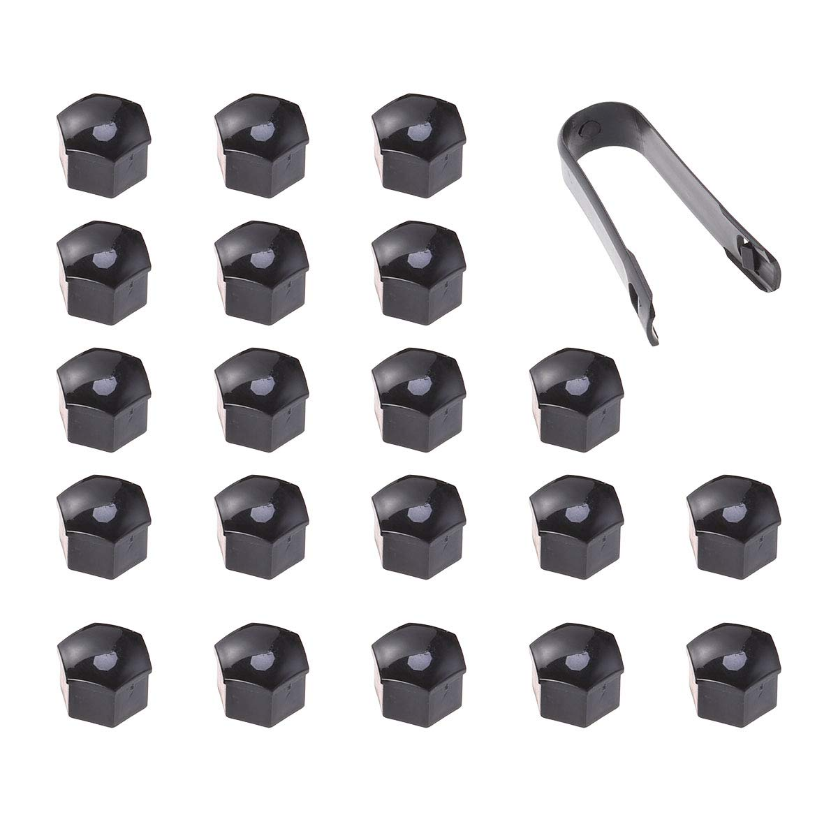 VORCOOL 21 in 1 Hexagonal Wheel Lug Nut Covers Bolts Covers Screw Protect Caps 21mm with Clips Black