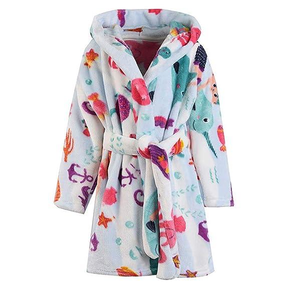 Toddler Baby Girls Boys Robe Kid Soft Bathrobes Flannel Pajamas Sleepwear 2-9t