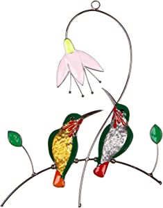 Hummingbird Suncatcher Stained Glass Window Hanging, 2 Birds on A Wire with Flower Nectar, Leaf Ornament Decor and Suction Cup