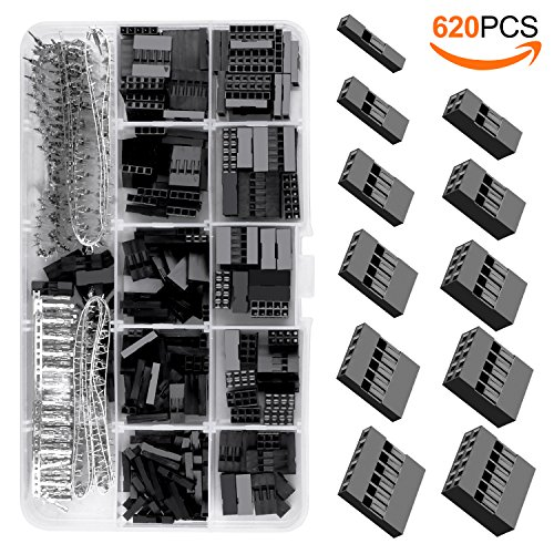 KINCREA 620PCS 2.54mm Pitch 1 2 3 4 5 6 Pin Housing Connector and Male Female Dupont Crimp Pins Adaptor Assortment Kit (Pin Connector Housing Female 4)