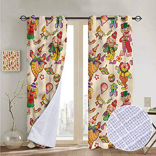 NUOMANAN Curtains Circus,Comedian Musical Clowns Kids,Treatments Thermal Insulated Light Blocking Drapes Back for Bedroom 120