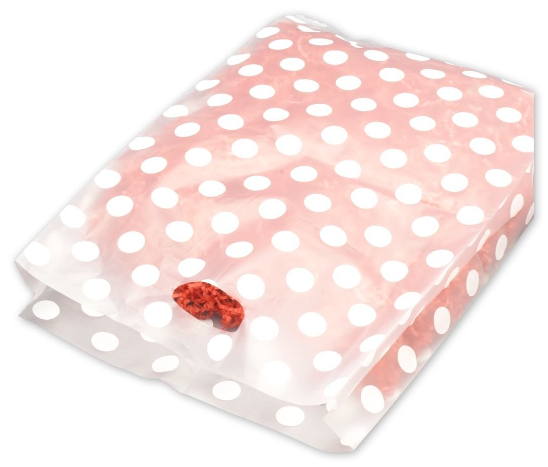 White Dots Frosted Merchandise Bags, 14 x 3 x 21'' (500 Bags) - BOWS-55-14321-DOT9