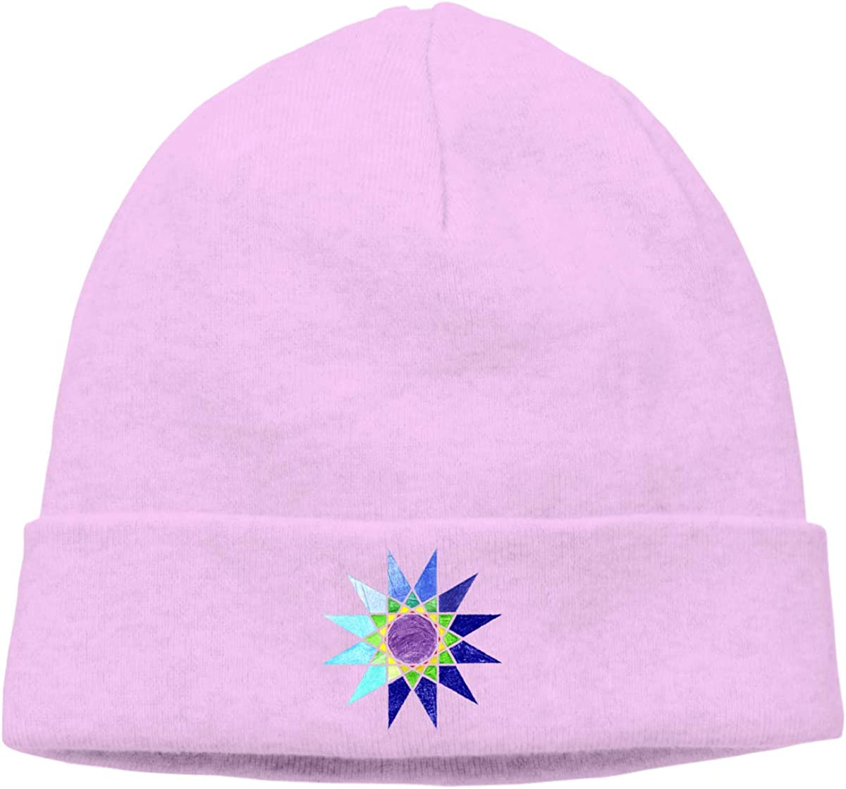 Riokk az Colors Geometric Star Skull Cap Beanie Hats for Mens Pink