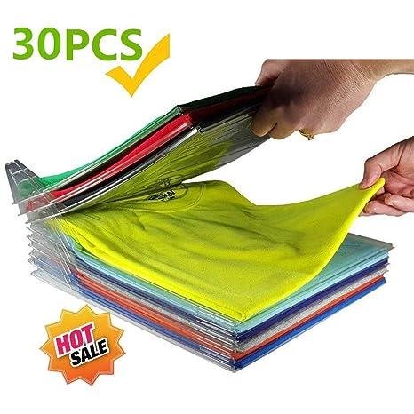 20Pcs Tama/ño Normal Transparente Organizador de Armario Hogar Estanter/ía Camiseta Carpeta Sistema Antiarruga