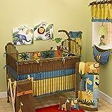 4 Piece Baby Blue Yellow Brown Safari Crib Bedding Set, Newborn Animal Themed Nursery Bed Set Infant Child Jungle Patchwork Leopard Print Border Giraffe Lion Elephant Zebra Blanket Quilt, Cotton