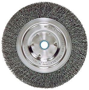 """Weiler 2325 Vortec Pro Medium Face Bench Grinder Wheel, 6"""", 0.14"""" Crimped Steel Wire Fill, 5/8""""-1/2"""" Arbor Hole"""