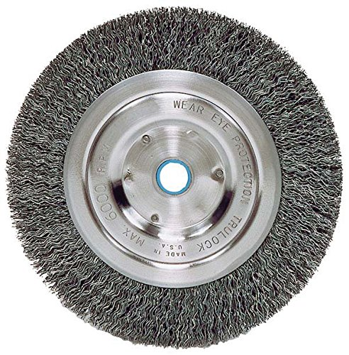Weiler 2325 Vortec Pro Medium Face Bench Grinder Wheel, 6', 0.14' Crimped Steel Wire Fill, 5/8'-1/2' Arbor Hole