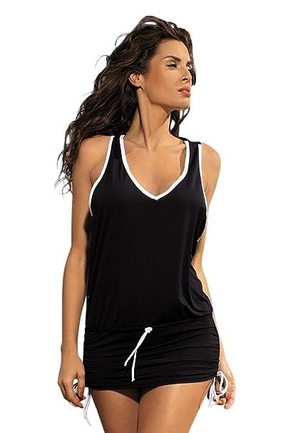 dbfa13e237d15 Chvity Women Summer One Piece Sexy Sleeveless V Neck Beach Dress ...
