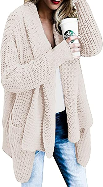OranDesigne Strickjacke Damen Grobstrick Strickmantel strickcardigan Oversized Cardigan Strickmantel Casual Sweater Outwear