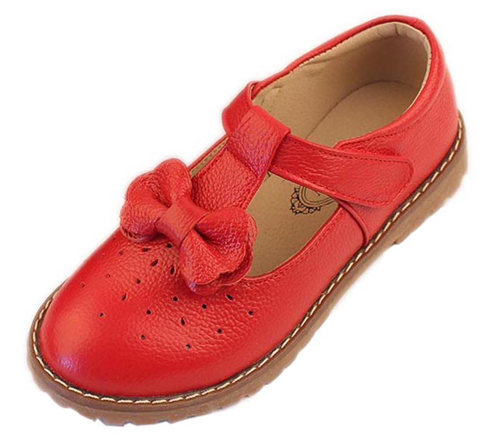 iDuoDuo Girls Cute Bow Mary Jane Dress Wedding Shoes Strap Leather Princess Flats Red 5 M US Big Kid