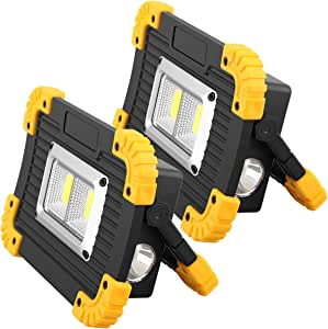 【Upgraded】Rechargeable LED Work Light, 20W 1200LM Portable LED Flood Lights for Outdoor Camping Fishing Hiking Emergency Car Repairing Job Lighting Workshop Construction Site COB Lights (2 Pack)