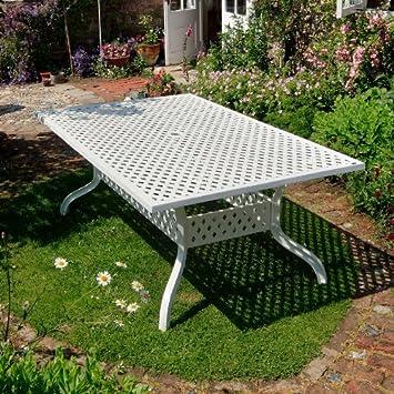Amazon.de: Aluguss Gartenmöbel Set Weißes Sophia 200 x 120cm ...