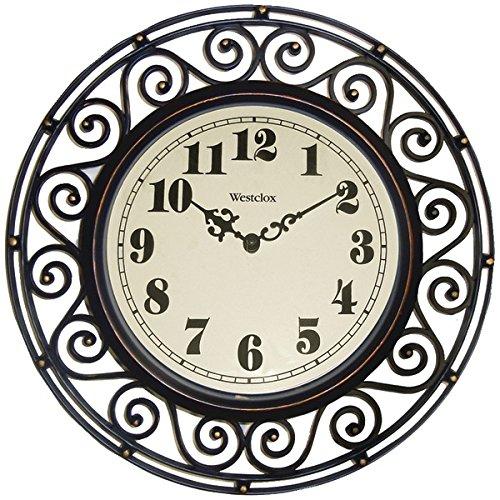 Westclox 12 Round Filigree Rubbed Bronze Finish Clock