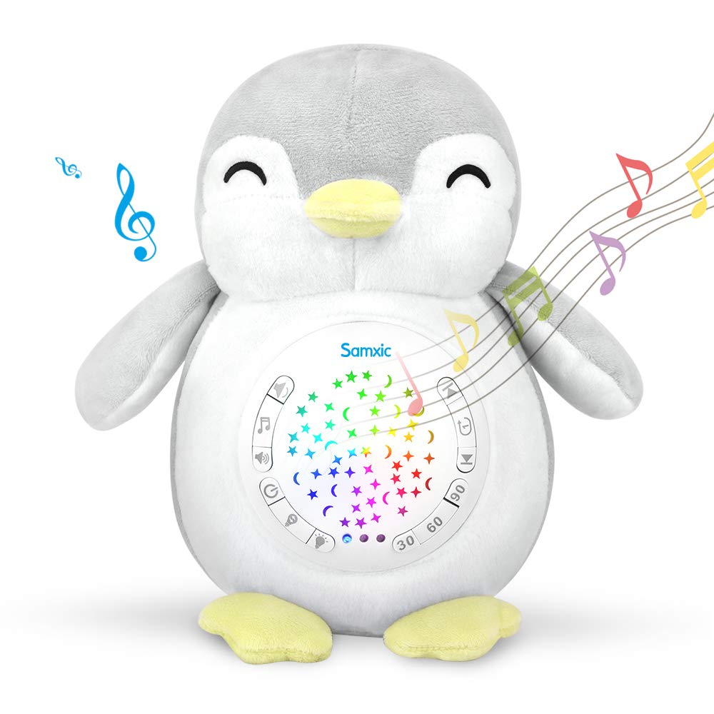 Baby Gifts - ACENZ White Noise Sound Machine, Portable Baby Sleep Soother Stuffed Animals Penguin & 12 Soothing Sounds & Stars Night Light