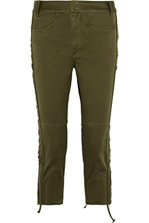 ec8acc85cc Isabel Marant Khaki Cotton Twill Slim Leg Pants Army 36 at Amazon ...