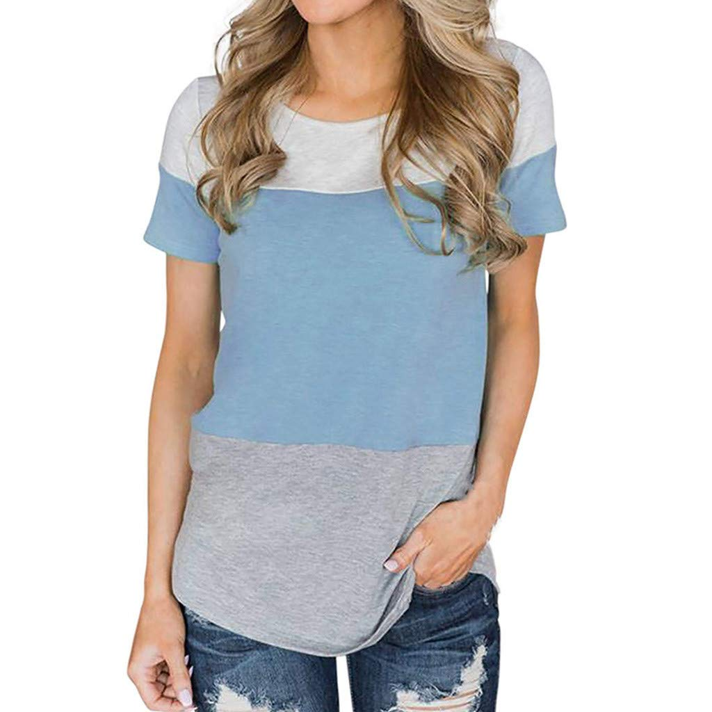 Wintialy 2019 Women's Fashion Knotted V-Neck Lace Strap Short Sleeve Top Blue