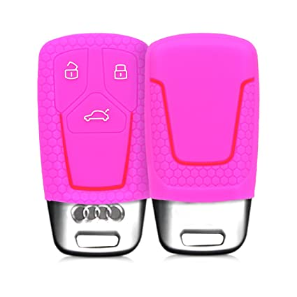 kwmobile Funda de Silicona para Llave Smartkey de 3 Botones para Coche Audi - Carcasa Protectora Suave de Silicona Case Mando de Auto Blanco//Rojo Solamente Keyless Go