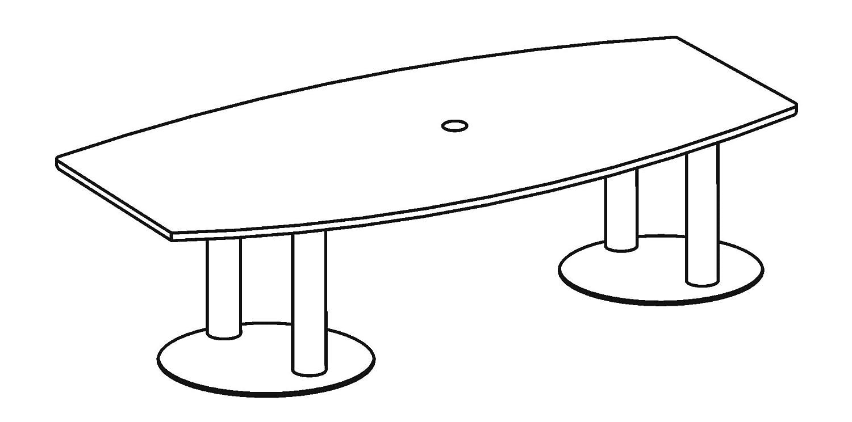 Hammerbacher Konferenztisch KT28S Säulenfüße,Eiche/chrom