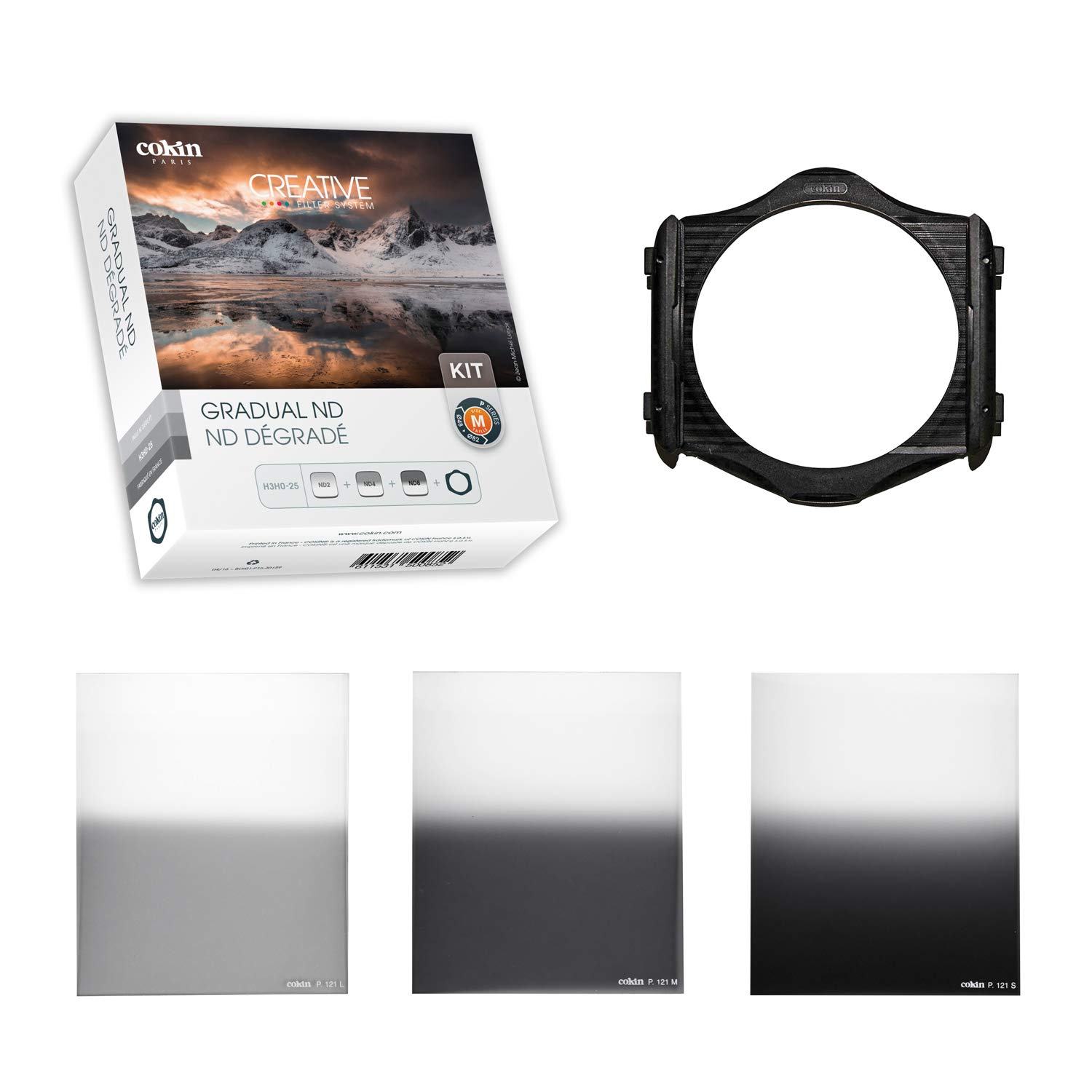Cokin Square Filter Gradual ND Creative Kit Plus - Includes M (P) Series Filter Holder, Gnd 1-Stop (121L), Gnd 2-Stop (121M), Gnd 3-Stop Soft (121S) by Cokin