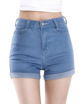 3f6989c3c Minetom Women's Summer Short Hole Ripped Denim Jeans High Waist Party  Clubwear Hot Pants with Stretch at Amazon Women's Clothing store: