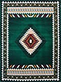 South West Native American Area Rug Design D 143 Hunter Green (5 Feet X 7 Feet)