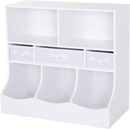 site professionnel convient aux hommes/femmes comment choisir Homcom Meuble de Rangement pour Enfants 5 casiers 3 tiroirs Non tissé MDF  Blanc