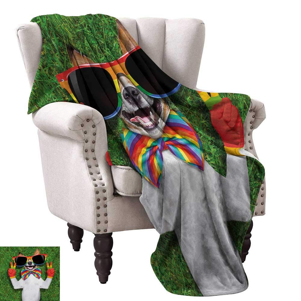 color05 70 Wx93 L WinfreyDecor Pride Decorative Throw Blanket Grungy Rainbow with Thumbs Up Art Illustration Approbation Acceptance Gesture Print Sofa Chair 60  Wx60 L Multicolor