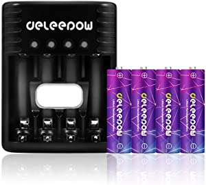Deleepow Smart Battery Charger with AA Li-ion Rechargeable Batteries Set, High Capacity 3200mWh AA Battery Cells 1.5V Rechargeable Battery No Memory Effect 4-Pack